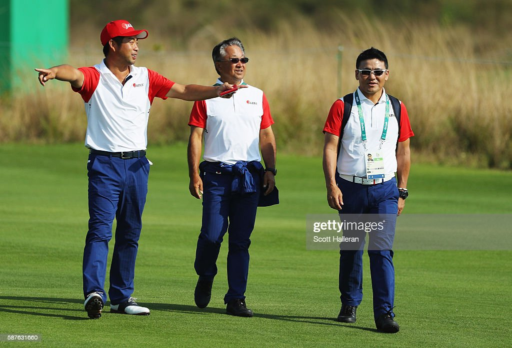 Yuta Ikeda of Japan (L) walks with Massy Kuramoto and Shigeki Maruyama during a practice round on Day 4 of the Rio 2016 Olympic Games at Olympic Golf Course on August 9, 2016 in Rio de Janeiro, Brazil.