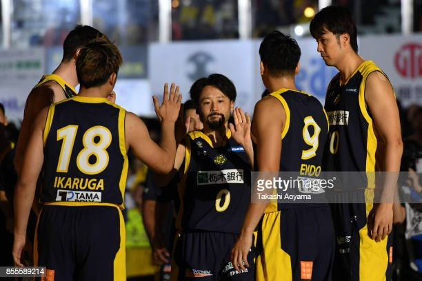 Yuta Tabuse of the Tochigi Brex is introduced onto the court ahead of the BLeague game between Tochigi Brex and Seahorses Mikawa at Brex Arena...