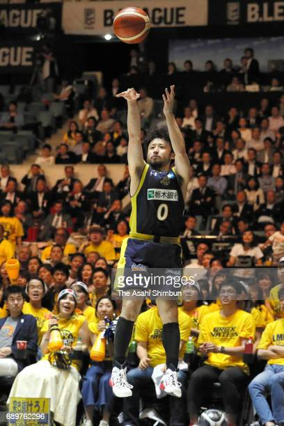 Yuta Tabuse of Tochigi Brex attempts a three point shoot during the B League Championship final match between Kawasaki Brave Thunders and Tochigi...