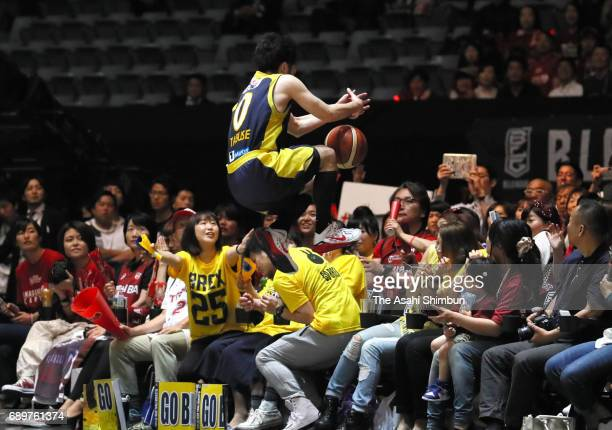 Yuta Tabuse of Tochigi Brex dives as he chases the ball during the B League Championship final match between Kawasaki Brave Thunders and Tochigi Brex...