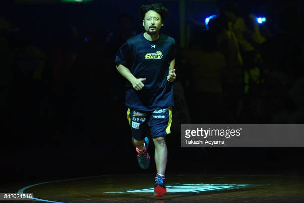 Yuta Tabuse of Tochigi Brex is introduced onto the court ahead of during the BLeague Kanto Early Cup 3rd place match between Kawasaki Brave Thunders...
