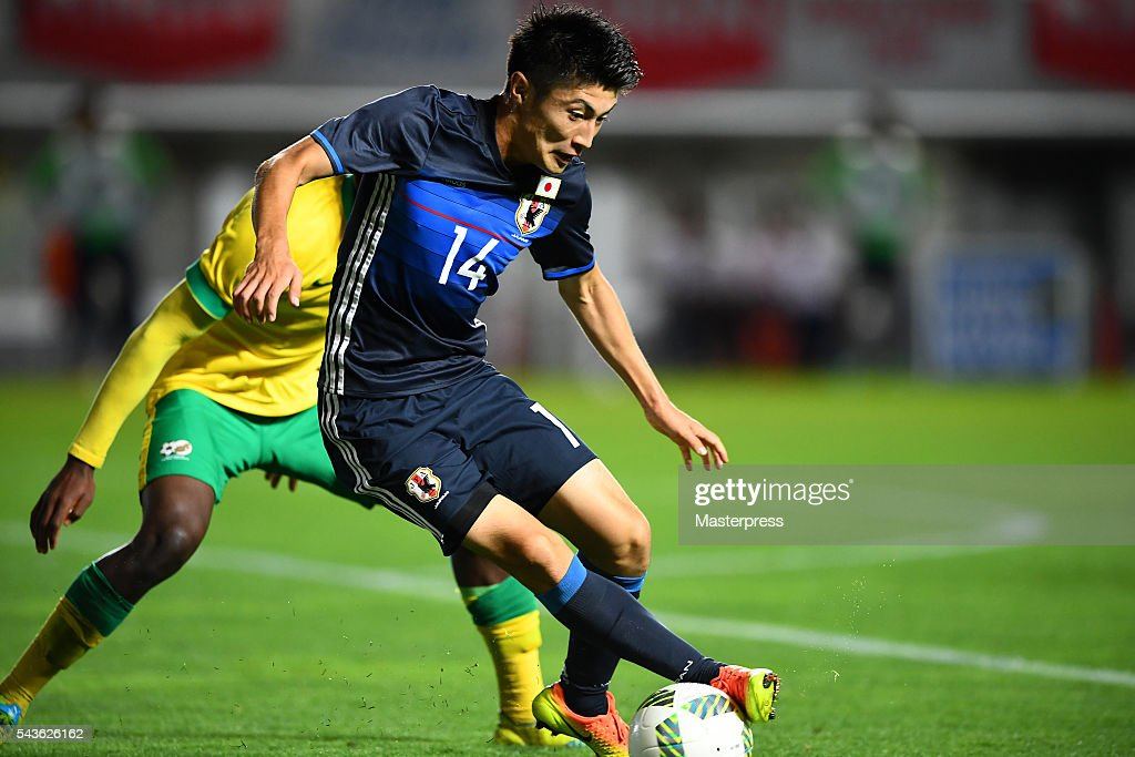 Yuta Toyokawa of Japan in action during the U-23 international friendly match between Japan v South Africa at the Matsumotodaira Football Stadium on June 29, 2016 in Matsumoto, Nagano, Japan.