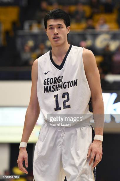 Yuta Watanabe of the George Washington Colonials looks on during a college basketball game against the Howard Bison at the Smith Center on November...