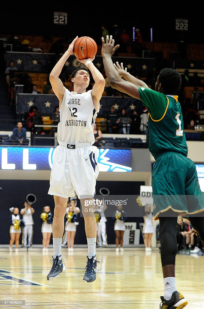 Yuta Watanabe of the George Washington Colonials shoots the ball against the George Mason Patriots at the Charles E Smith Athletic Center on March 1...