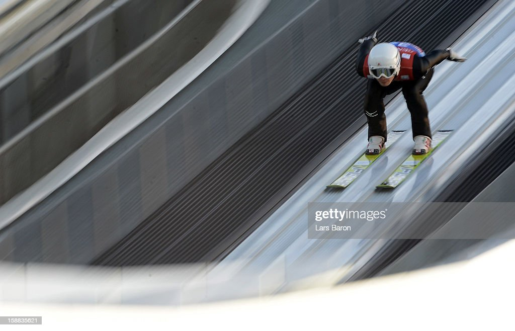 Yuta Watase of Japan competes during the qualification round for the FIS Ski Jumping World Cup event at the 61st Four Hills ski jumping tournament at Olympiaschanze on December 31, 2012 in Garmisch-Partenkirchen, Germany.