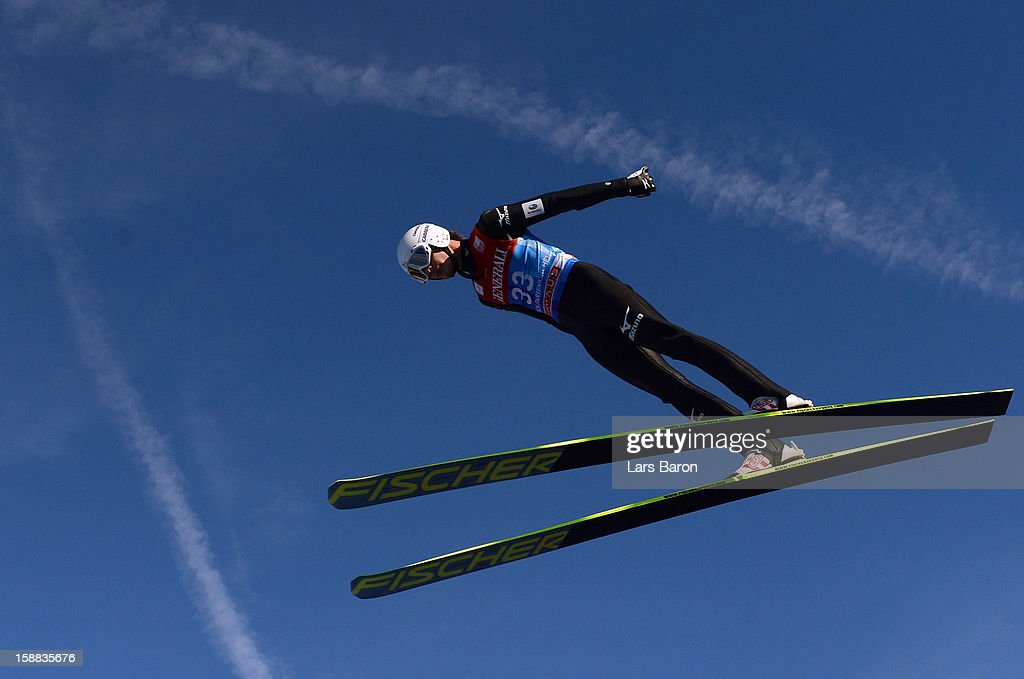 Yuta Watase of Japan competes during the trail round for the FIS Ski Jumping World Cup event at the 61st Four Hills ski jumping tournament at Olympiaschanze on December 31, 2012 in Garmisch-Partenkirchen, Germany.