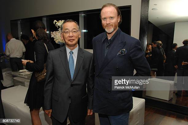 Yutaka Mino and Prince Pierre d'Arenberg attend MANDARIN ORIENTAL HOTEL GROUP Party for the SOTHEBY'S Contemporary Asian Art Exhibition at The...