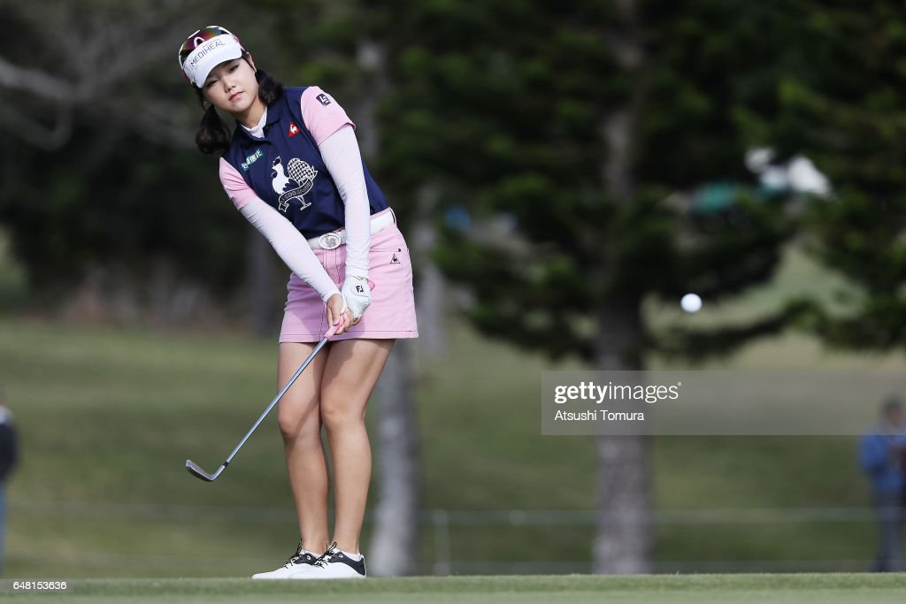 Yuting Seki of China chips onto the 10th green during the final round of the Daikin Orchid Ladies Golf Tournament at the Ryukyu Golf Club on March 5, 2017 in Nanjo, Japan.