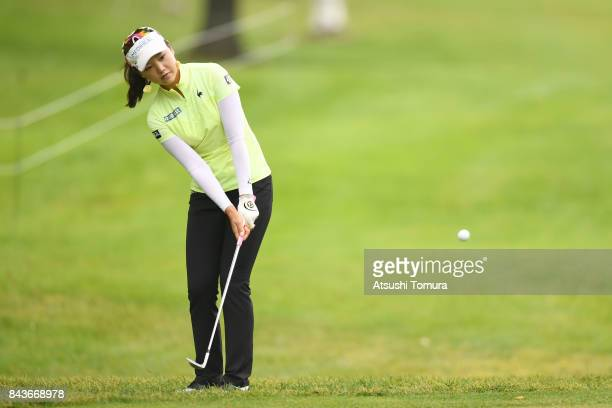 Yuting Seki of China chips onto the 10th green during the first round of the 50th LPGA Championship Konica Minolta Cup 2017 at the Appi Kogen Golf...