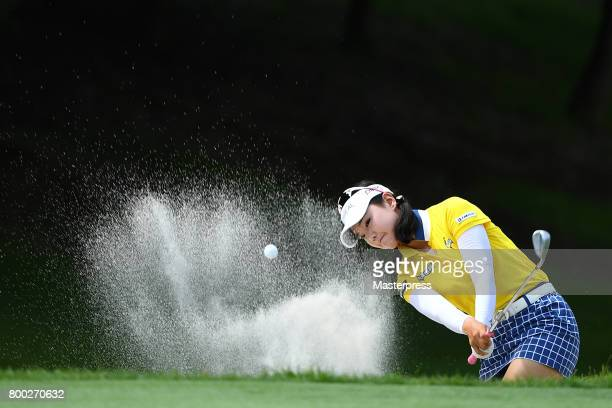 Yuting Seki of China chips onto the 16th green during the third round of the Earth Mondamin Cup at the Camellia Hills Country Club on June 24 2017 in...