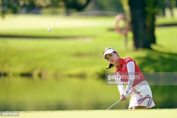 Yuting Seki of China chips onto the 2nd green during the final round of the Nitori Ladies 2017 at the Otaru Country Club on August 27 2017 in Otaru...