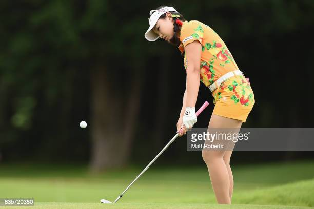 Yuting Seki of China chips onto the 3rd green during the final round of the CAT Ladies Golf Tournament HAKONE JAPAN 2017 at the Daihakone Country...