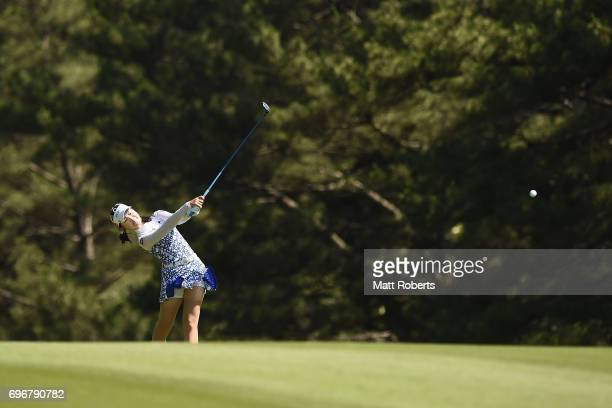 Yuting Seki of China hits her second shot on the 10th hole during the second round of the Nichirei Ladies at the on June 17 2017 in Chiba Japan