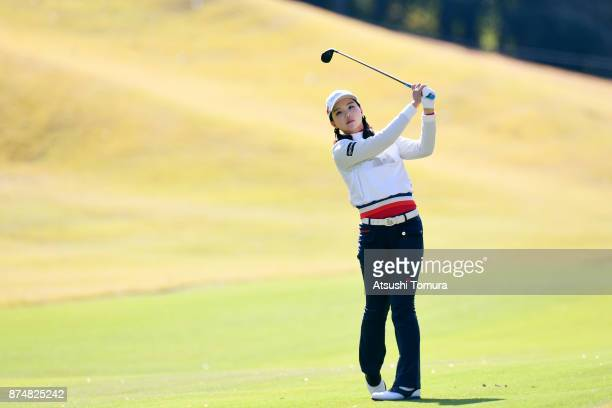 Yuting Seki of China hits her second shot on the 15th hole during the first round of the Daio Paper Elleair Ladies Open 2017 at the Elleair Golf Club...
