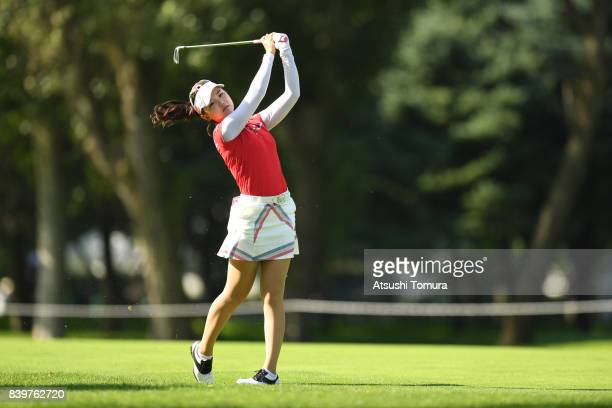 Yuting Seki of China hits her second shot on the 2nd hole during the final round of the Nitori Ladies 2017 at the Otaru Country Club on August 27...