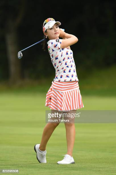 Yuting Seki of China hits her second shot on the 5th hole during the second round of the Century 21 Ladies Golf Tournament 2017 at the Seta Golf...
