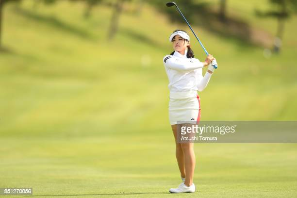 Yuting Seki of China hits her second shot on the 8th hole during the first round of the Miyagi TV Cup Dunlop Ladies Open 2017 at the Rifu Golf Club...