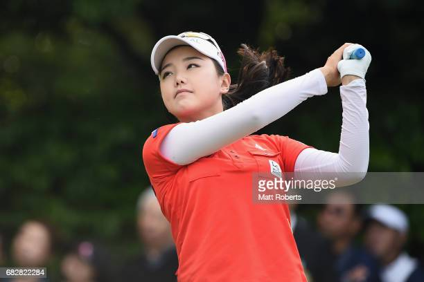 Yuting Seki of China hits her tee shot on the 10th hole during the final round of the HokennoMadoguchi Ladies at the Fukuoka Country Club Wajiro...