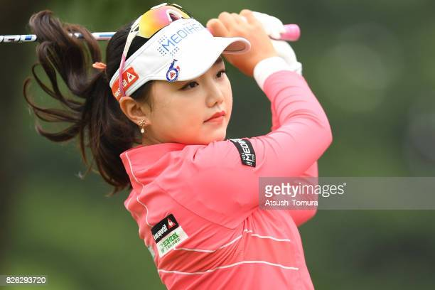 Yuting Seki of China hits her tee shot on the 10th hole during the first round of the meiji Cup 2017 at the Sapporo Kokusai Country Club Shimamatsu...