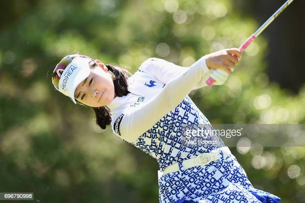 Yuting Seki of China hits her tee shot on the 11th hole during the second round of the Nichirei Ladies at the on June 17 2017 in Chiba Japan