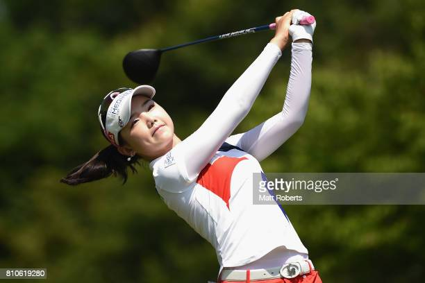 Yuting Seki of China hits her tee shot on the 13th hole during the second round of the Nipponham Ladies Classics at the Ambix Hakodate Club on July 8...