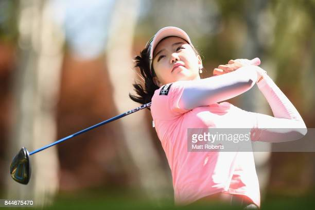 Yuting Seki of China hits her tee shot on the 15th hole during the third round of the 50th LPGA Championship Konica Minolta Cup 2017 at the Appi...
