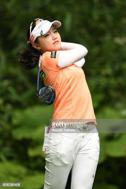 Yuting Seki of China hits her tee shot on the 18th hole during the first round of the meiji Cup 2017 at the Sapporo Kokusai Country Club Shimamatsu...