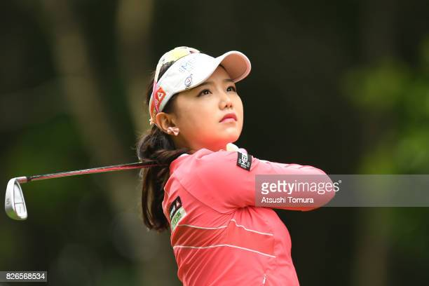 Yuting Seki of China hits her tee shot on the 2nd hole during the second round of the meiji Cup 2017 at the Sapporo Kokusai Country Club Shimamatsu...