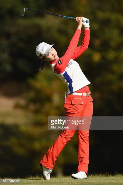 Yuting Seki of China hits her tee shot on the 2nd hole during the second round of the Itoen Ladies Golf Tournament 2017 at the Great Island Club on...