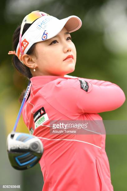Yuting Seki of China hits her tee shot on the 3rd hole during the first round of the meiji Cup 2017 at the Sapporo Kokusai Country Club Shimamatsu...