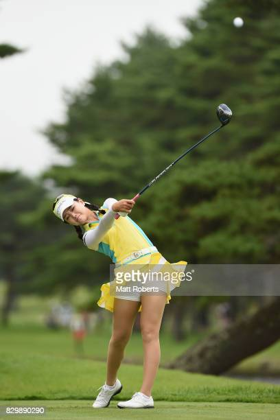 Yuting Seki of China hits her tee shot on the 4th hole during the first round of the NEC Karuizawa 72 Golf Tournament 2017 at the Karuizawa 72 Golf...
