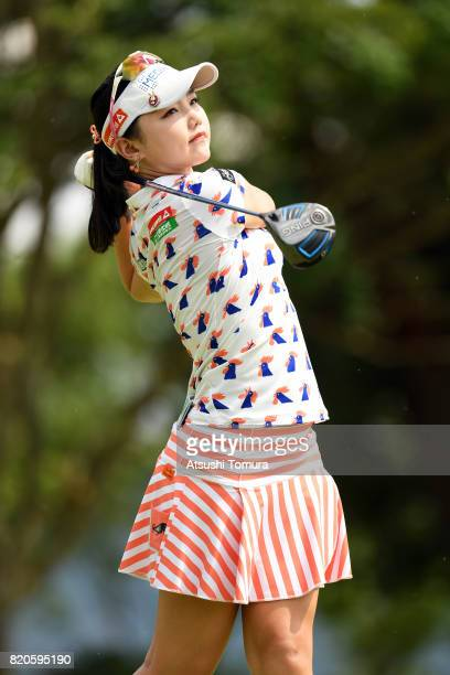 Yuting Seki of China hits her tee shot on the 5th hole during the second round of the Century 21 Ladies Golf Tournament 2017 at the Seta Golf Course...