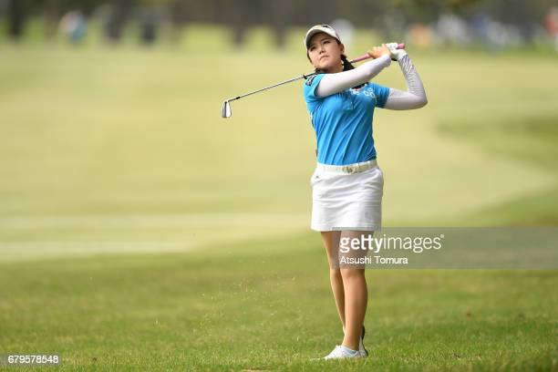 Yuting Seki of China hits her third shot on the 12th hole during the third round of the World Ladies Championship Salonpas Cup at the Ibaraki Golf...