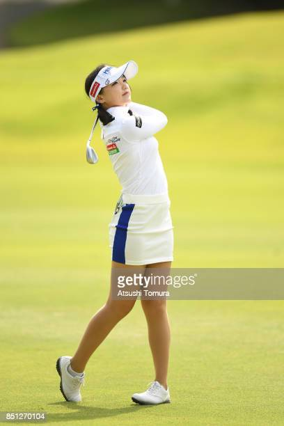 Yuting Seki of China hits her third shot on the 8th hole during the first round of the Miyagi TV Cup Dunlop Ladies Open 2017 at the Rifu Golf Club on...