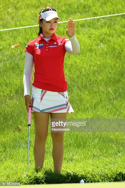 Yuting Seki of China lines up during the second round of the Samantha Thavasa Girls Collection Ladies Tournament at the Eagle Point Golf Club on July...