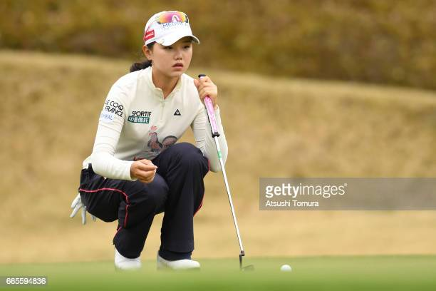 Yuting Seki of China lines up her putt on the 14th hole during the first round of the Studio Alice Open at the Hanayashiki Golf Club Yokawa Course on...
