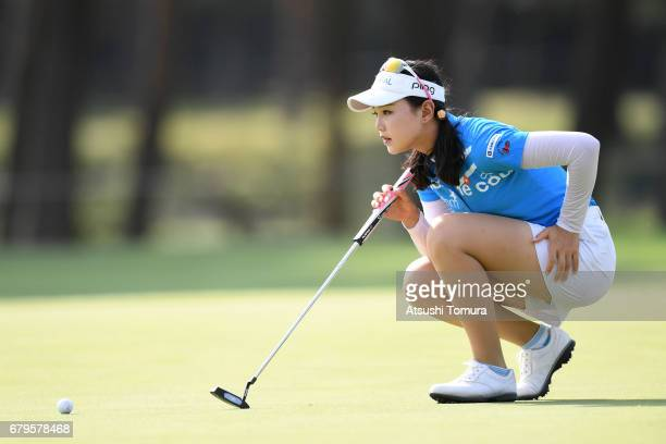 Yuting Seki of China lines up her putt on the 15th hole during the third round of the World Ladies Championship Salonpas Cup at the Ibaraki Golf Club...