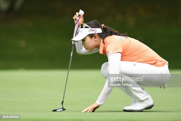 Yuting Seki of China lines up her putt on the 17th hole during the first round of the meiji Cup 2017 at the Sapporo Kokusai Country Club Shimamatsu...
