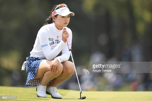 Yuting Seki of China lines up her putt on the 18th hole during the second round of the KKT Cup Vantelin Ladies Open at the Kumamoto Airport Country...