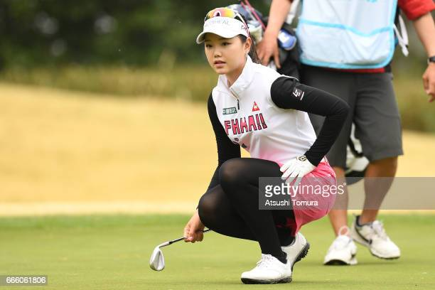 Yuting Seki of China lines up her putt on the 1st hole during the second round of the Studio Alice Open at the Hanayashiki Golf Club Yokawa Course on...