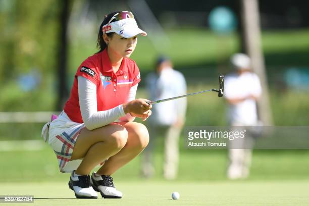 Yuting Seki of China lines up her putt on the 1st hole during the final round of the Nitori Ladies 2017 at the Otaru Country Club on August 27 2017...