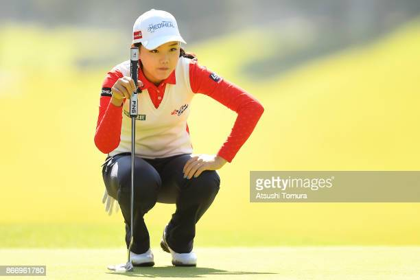 Yuting Seki of China lines up her putt on the 2nd hole during the first round of the Higuchi Hisako Ponta Ladies at the Musashigaoka Golf Course on...