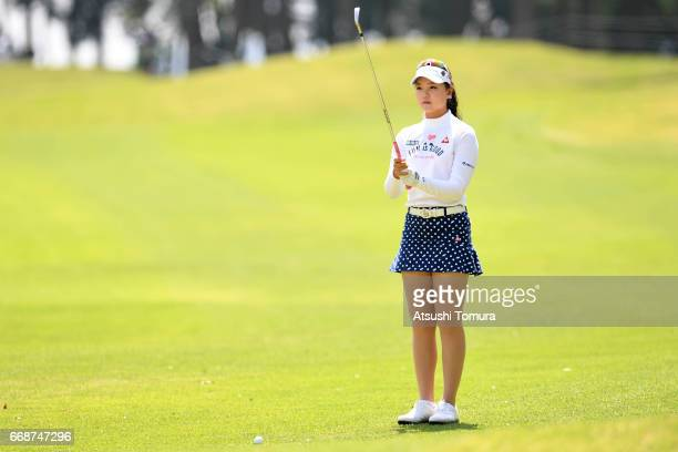 Yuting Seki of China lines up her second shot on the 18th hole during the second round of the KKT Cup Vantelin Ladies Open at the Kumamoto Airport...