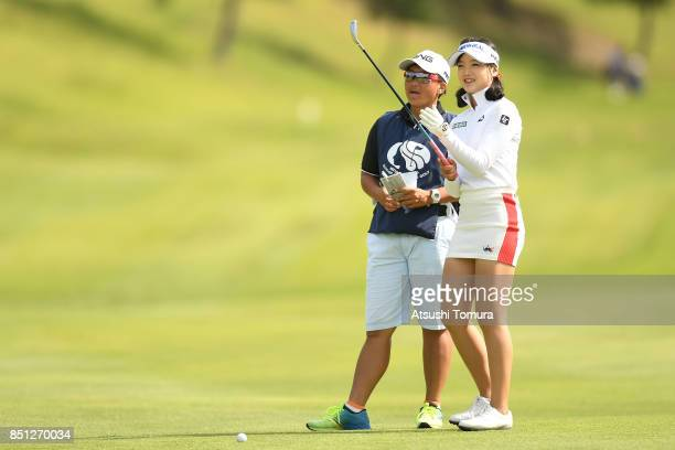Yuting Seki of China lines up her second shot on the 8th hole during the first round of the Miyagi TV Cup Dunlop Ladies Open 2017 at the Rifu Golf...
