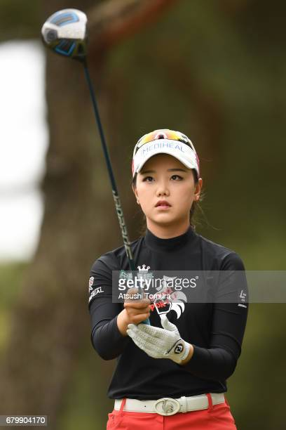 Yuting Seki of China lines up her tee shot on the 2nd hole during the final round of the World Ladies Championship Salonpas Cup at the Ibaraki Golf...