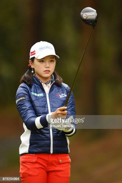 Yuting Seki of China lines up her tee shot on the 6th hole during the second round of the Daio Paper Elleair Ladies Open 2017 at the Elleair Golf...