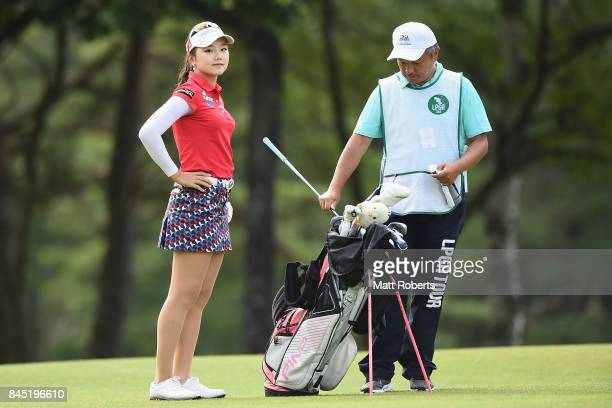 Yuting Seki of China looks on during the final round of the 50th LPGA Championship Konica Minolta Cup 2017 at the Appi Kogen Golf Club on September...