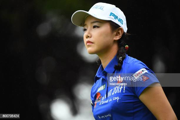 Yuting Seki of China looks on during the final round of the Earth Mondamin Cup at the Camellia Hills Country Club on June 25 2017 in Sodegaura Japan