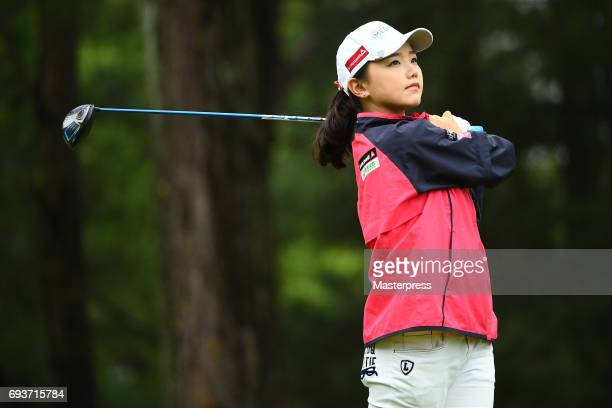 Yuting Seki of China looks on during the first round of the Suntory Ladies Open at the Rokko Kokusai Golf Club on June 8 2017 in Kobe Japan