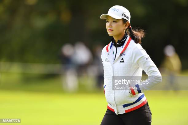 Yuting Seki of China looks on during the second round of Stanley Ladies Golf Tournament at the Tomei Country Club on October 7 2017 in Susono...